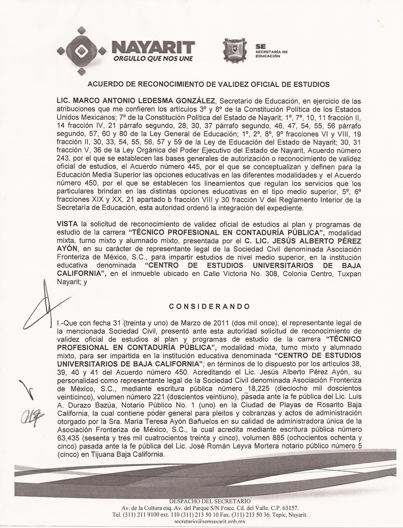 RVOE oficial: Técnico en Contaduría Pública